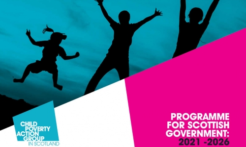 "Image shows silhouette of children jumping and has the text ""Programme for Scottish Government 2021 to 2026"" and a CPAG in Scotland logo"