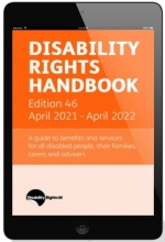 Image shows a tablet showing the cover of the Disability Rights Handbook 46th edition