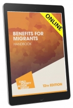 image shows a tablet showing the cover of the Benefits for Migrants Handbook