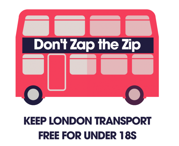 Don't Zap the Zip campaign logo - picture of a London double decker bus