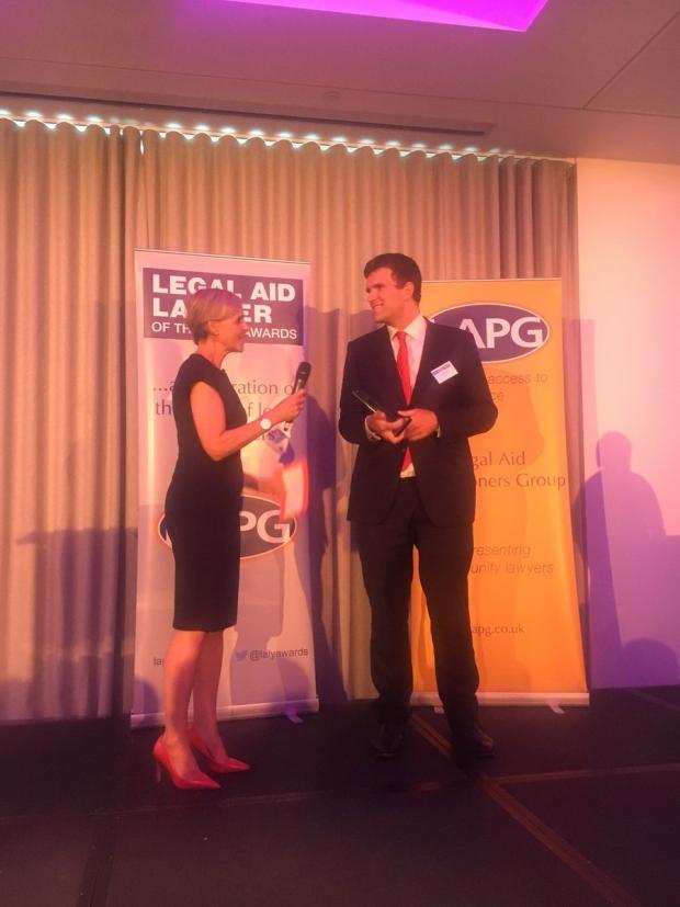 photo of Tom Royston receiving award