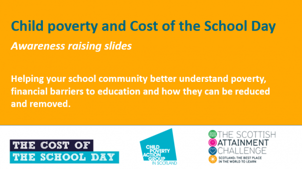 Front page Cost of the School Day awareness raising slides