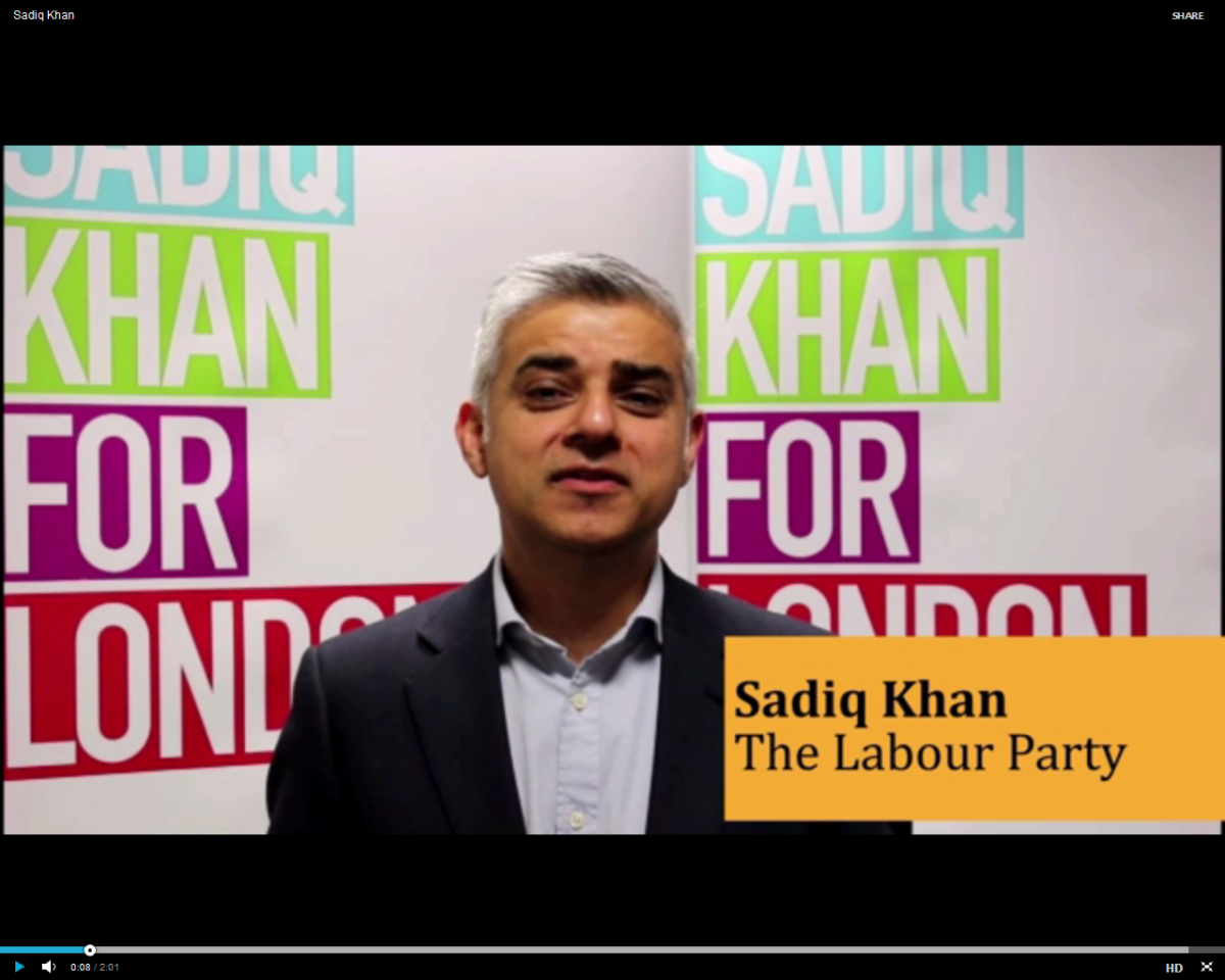 Sadiq Khan during his mayoral campaign