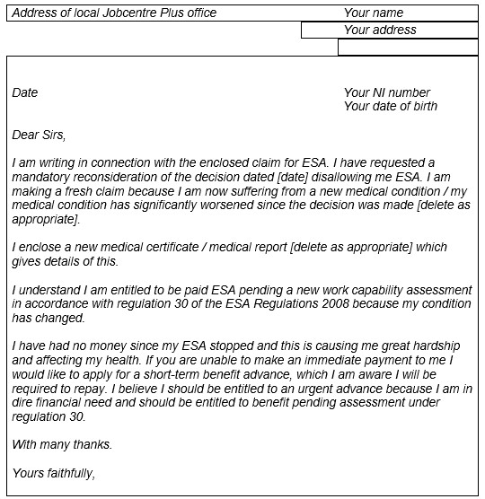 example letter accompanying reclaim for esa jobcentre plus letter
